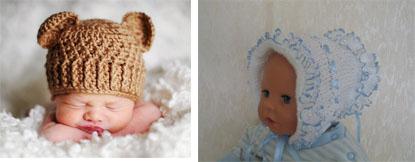 На картинке представлен Вязаный чепчик для новорожденного, который можно приобрести в магазине Антошка