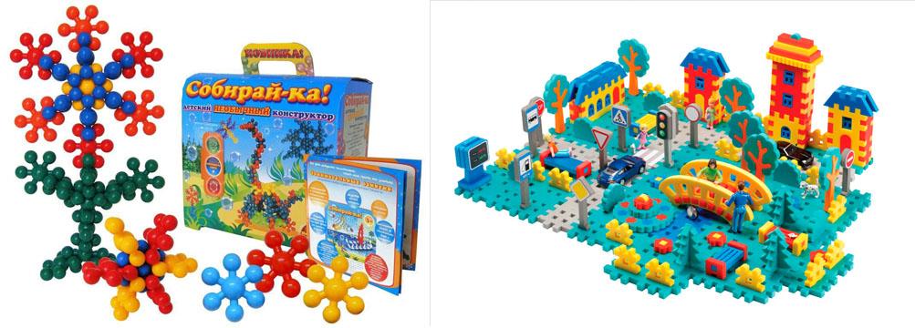 На картинке представлены Конструкторы для детей, которые можно приобрести в магазине Антошка
