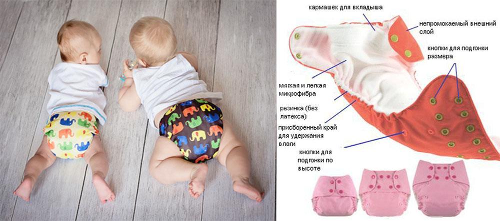 На картинке представлены Многоразовые подгузники, которые можно приобрести в магазине Антошка