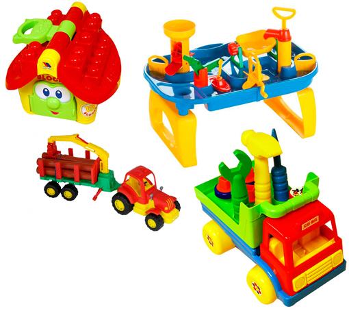 На картинке представлены Полесье игрушки, которые можно приобрести в магазине Антошка