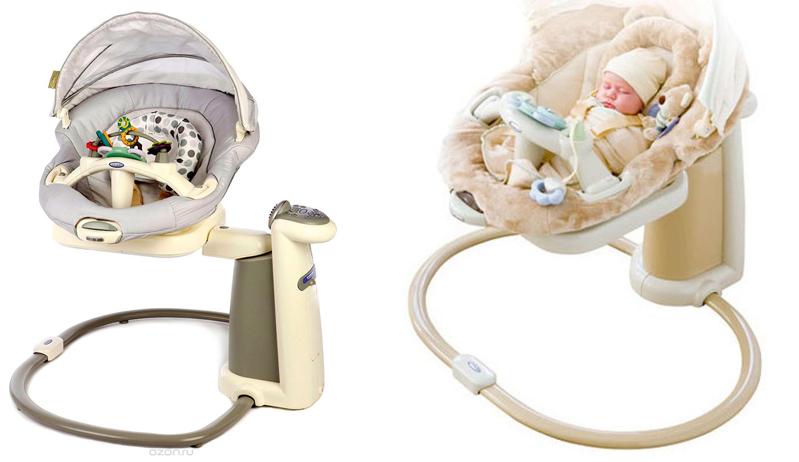 На картинке представлены Электронные качели для малыша graco sweetpeace (Грако свитпиас), которые можно приобрести в магазине Антошка
