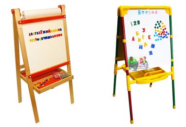 На картинке представлен Мольберт двухсторонний детский, который можно приобрести в магазине Антошка