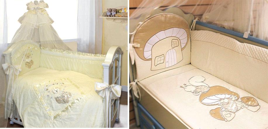 На картинке представлены Комплекты в кроватку для новорожденных, которые можно приобрести в магазине Антошка