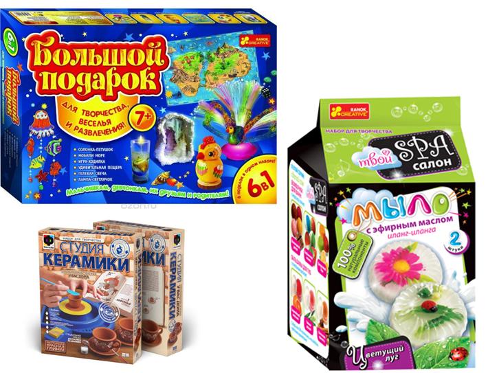 На картинке представлены Наборы для творчества, которые можно приобрести в магазине Антошка