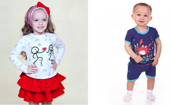 На картинке представлена детская одежда, которую можно приобрести в магазине Антошка