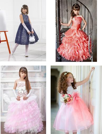 На картинке представлены Нарядные платья для девочек, которые можно приобрести в магазине Антошка