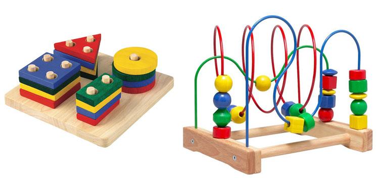 На картинке представлены Деревянные игрушки развивающие, которые можно приобрести в магазине Антошка
