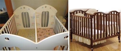 На картинке представлены Кроватки для двойняшек, которые можно приобрести в магазине Антошка