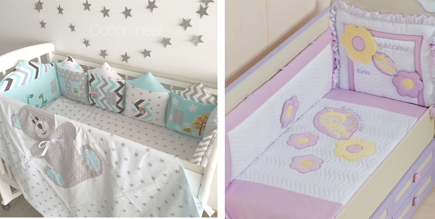 На картинке представлены Бортики в кроватку для новорожденных, которые можно приобрести в магазине Антошка