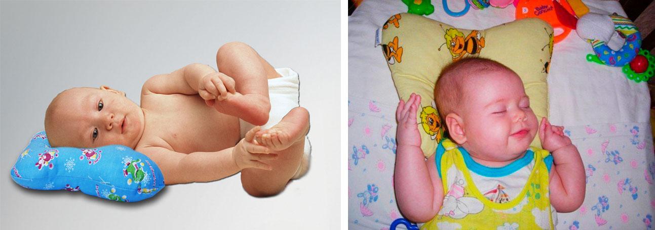 На картинке представлена Ортопедическая подушка для новорожденных, которую можно приобрести в магазине Антошка