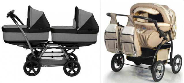 На картинке представлена коляска для двойняшек, которую можно приобрести в магазине Антошка