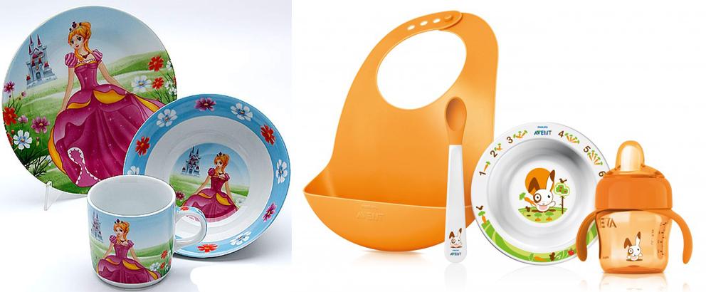 На картинке представлена Детская посуда, которую можно приобрести в магазине Антошка