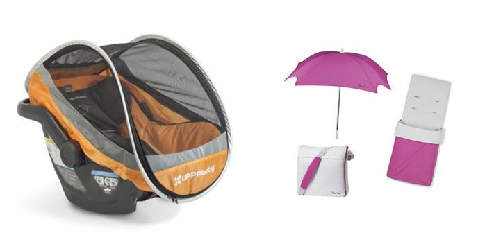 На картинке представлены аксессуары для колясок, которые можно приобрести в магазине Антошка