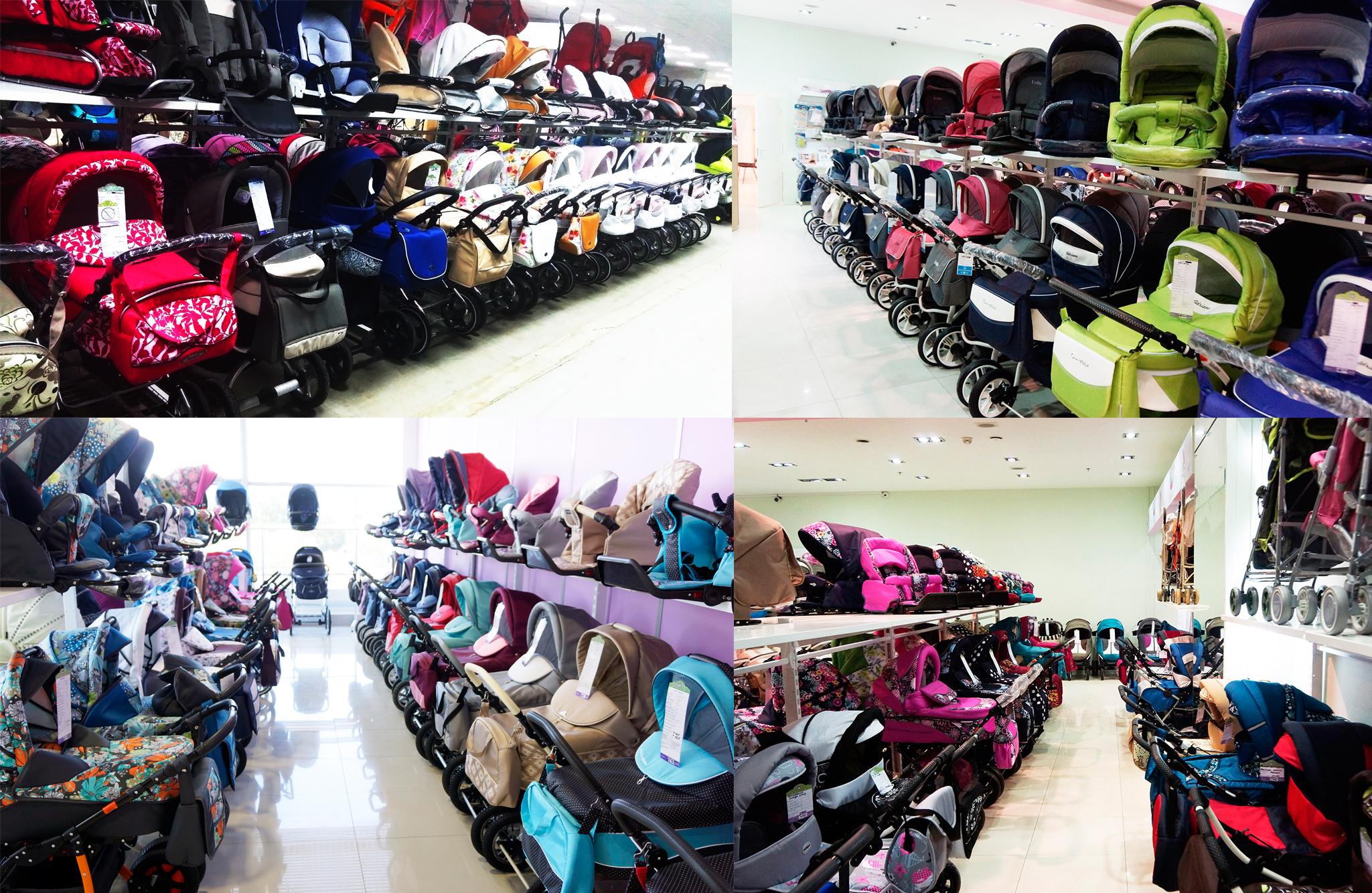 На картинке представлены фотографии из супермаркета Антошка с большим выбором колясок 2 в 1, 3 в 1