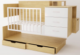 Детская кровать трансформер Polini Classic ЛДСП дуб-белый глянец