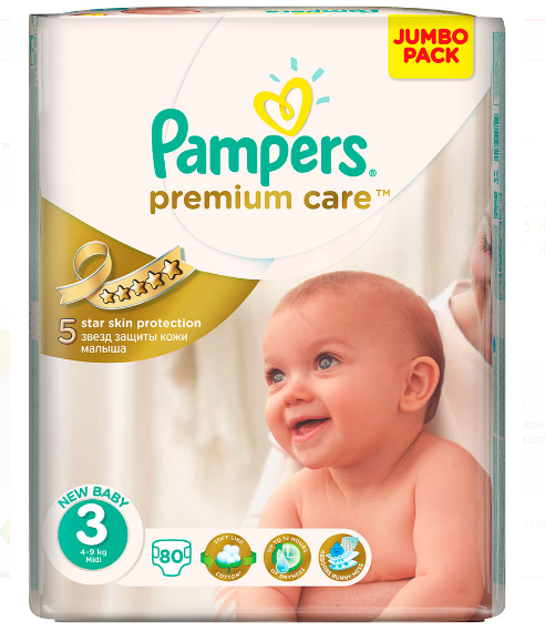 Подгузники Pampers Premium Care midi 4-9 кг 80 шт