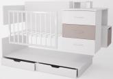 Детская кровать трансформер Polini Classic ЛДСП белый снег-макиато