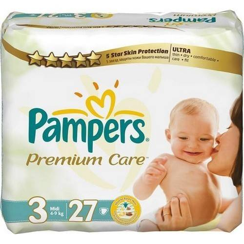 Подгузники Pampers Premium Care Midi, 4-9 кг, 27 шт., р.3